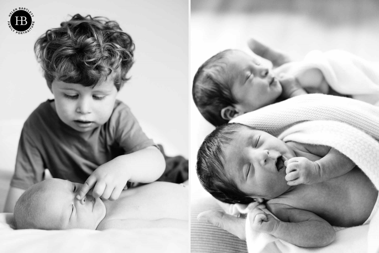 two pictures, one of newborn twins and one of older brother and newborn baby