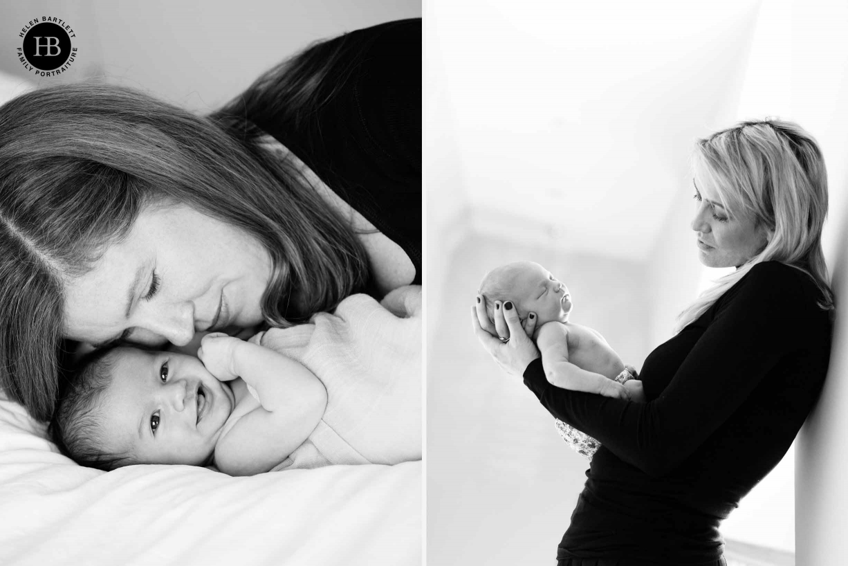 mums snuggle with their newborn babies in professional photographs east london