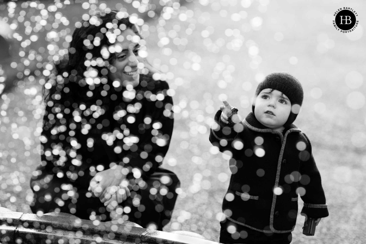 toddler looks at fountain in regents park north london