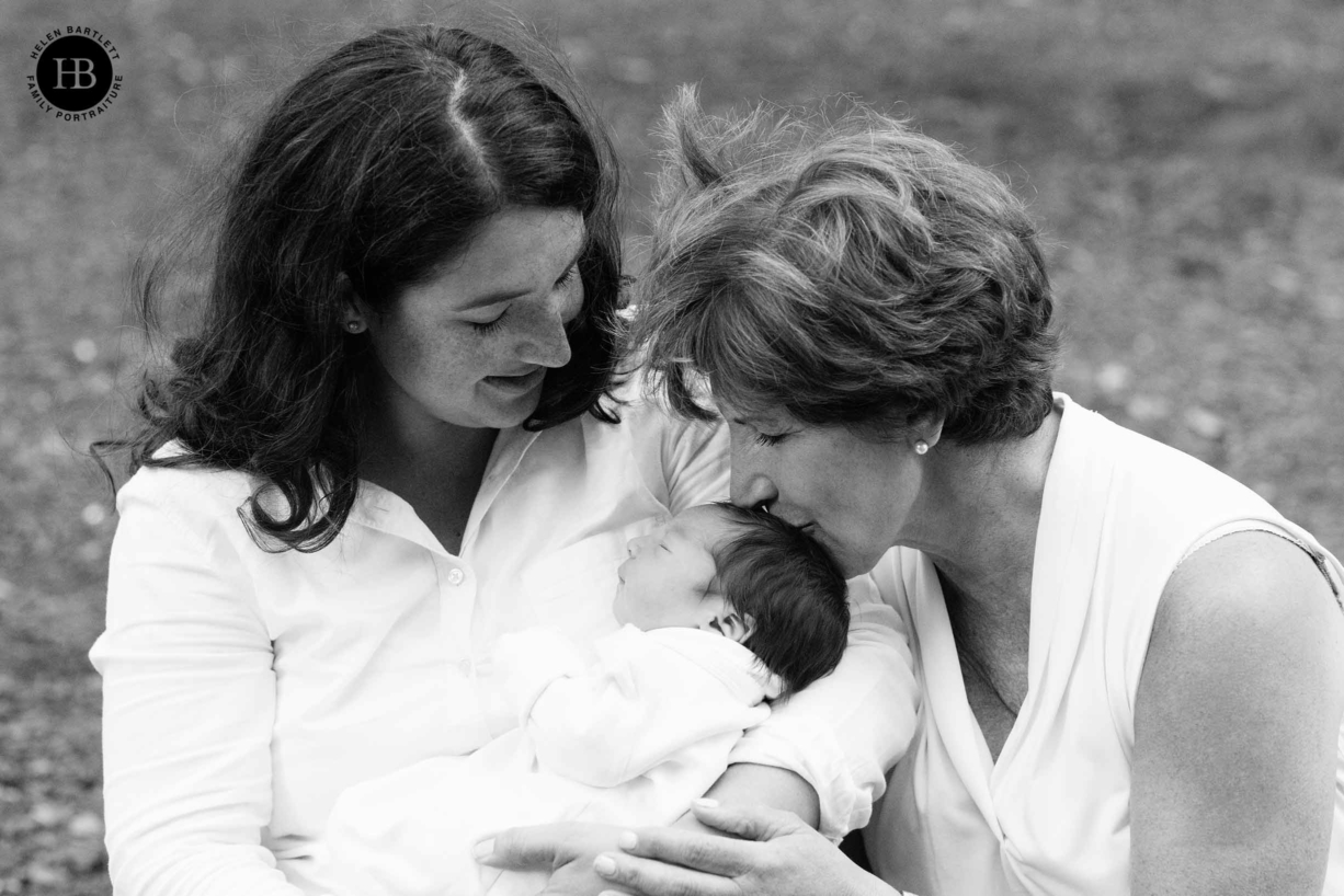 photograph of mother, grandmother, and newborn baby girl on Hampstead Heath North London