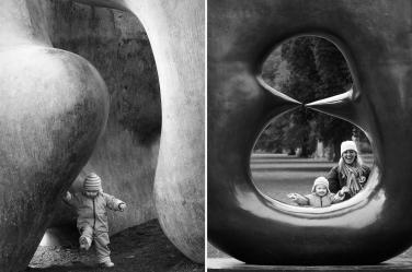 An outdoor sculpture makes a wonderful frame for a family portrait shoot by London's Helen Bartlett.