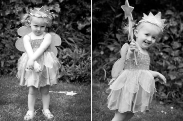 A little girl dresses up as a fairy for this garden portrait shoot.