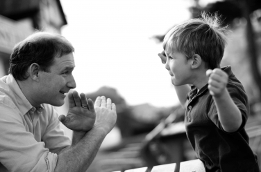 Who will win? Father or son? That's the question in this London lifestyle shoot of a family of four.