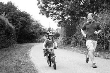That moment you realise you can ride a bike and STILL your dad is alongside you!