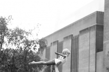 Straight out of the Dirty Dancing movie, this girl enacts the Jennifer Gray move as she is held aloft near the Tate Modern.