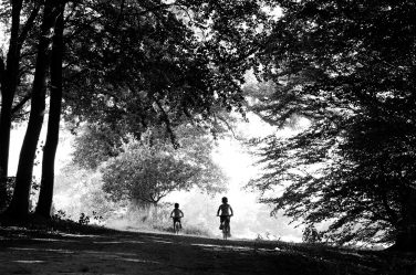 Two children ride their bikes through a tree arch. The photo is one of a series shot by London portrait photographer Helen Bartlett.