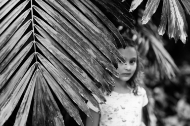 This young girl is hidden by a palm branch in a contemporary portrait by London photographer Helen Bartlett.
