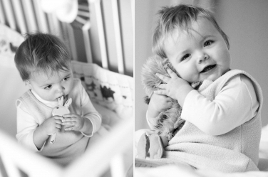Cuddling your favourite toy: a crib photo.