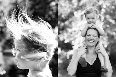 Photos of a windswept little girl and the girl and her mother.
