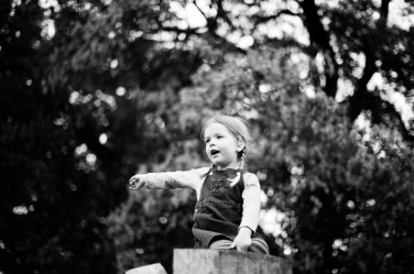 A girl sits on top of a wooden structure in a family photoshoot.