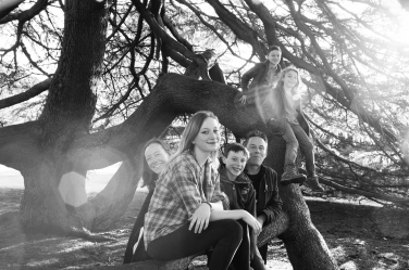 A tree is used to give multiple levels to this family portrait with four teenagers. It's the work of London-based photographer Helen Bartlett.