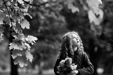 A young girls looks up in wonder at the majestic oaks in Greenwich during a London vacation.
