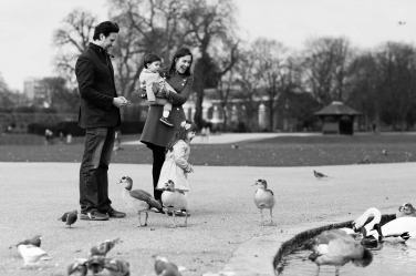 Visiting the ducks on the Serpentine in London's Hyde Park. Everyone loves to have their photo taken with ducks, especially if you're a toddler and it's part of a family shoot to mark your visit to the capital.