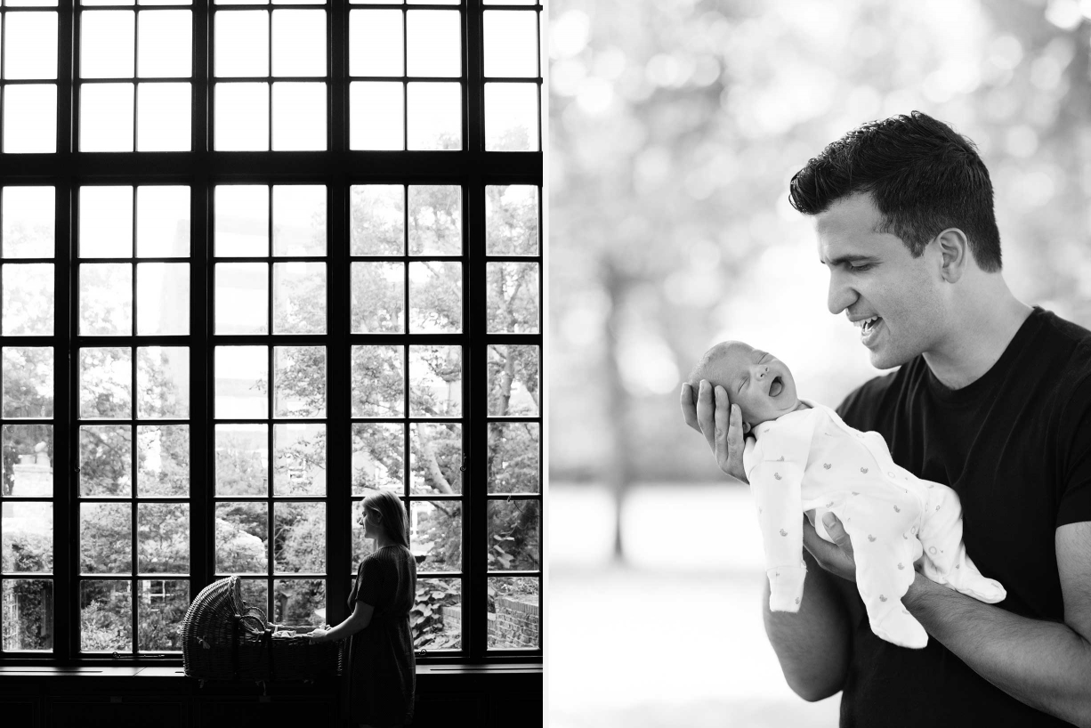 London newborn portraits can be taken in the home with architecture as a backdrop or outdoors, as both of these photos show.
