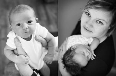 A newborn portrait and a portrait with a mother and child are both photographed from above to use flattering light.