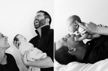 Newborn shoots can be full of laughs as well as quiet moments as these new fathers show in their London portrait shoots.