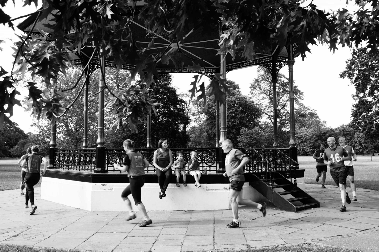 A bandstand provides a running track for fun and relaxed children's photography.