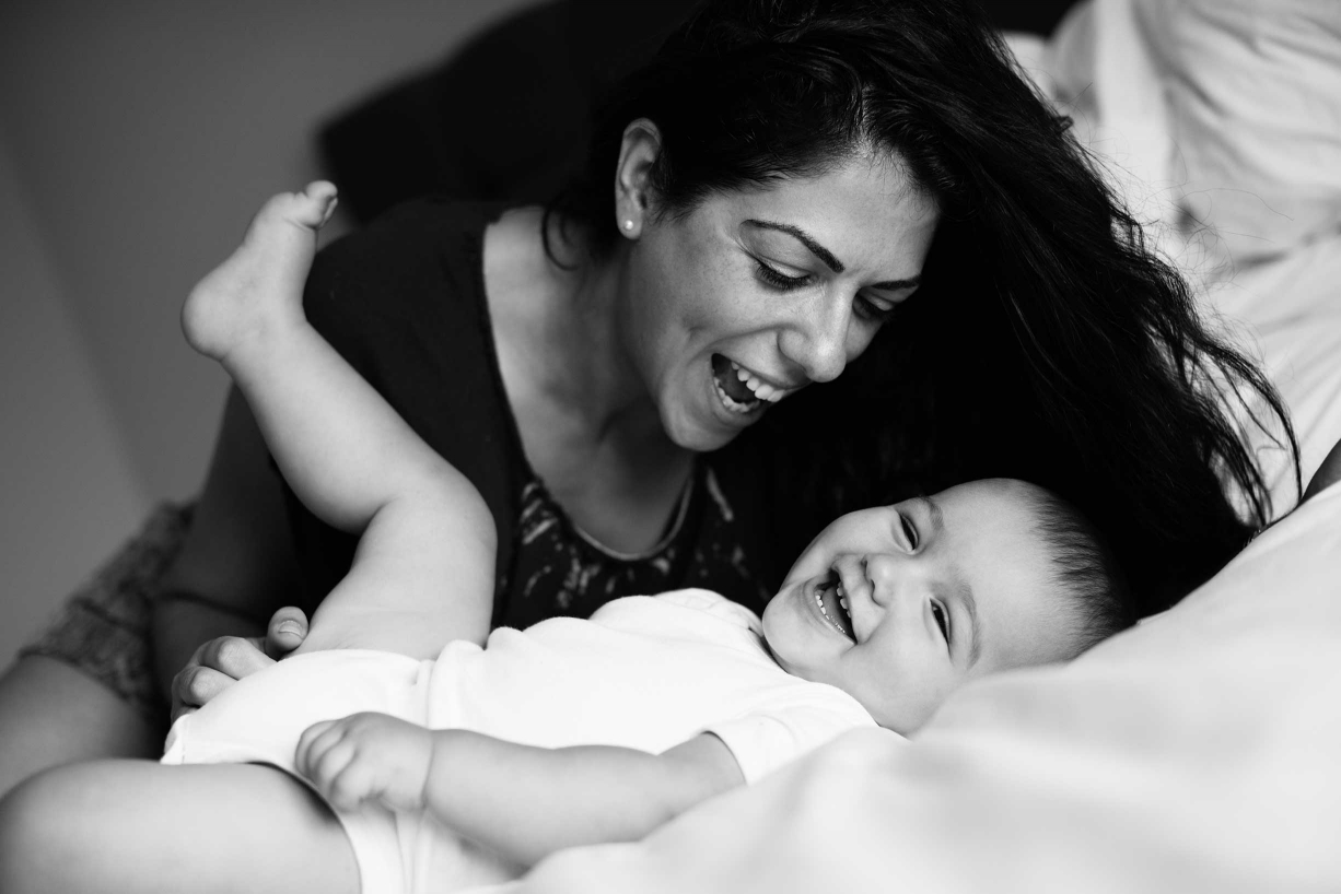 A mother and her baby during their family photo session in Blackheath, south-east London.
