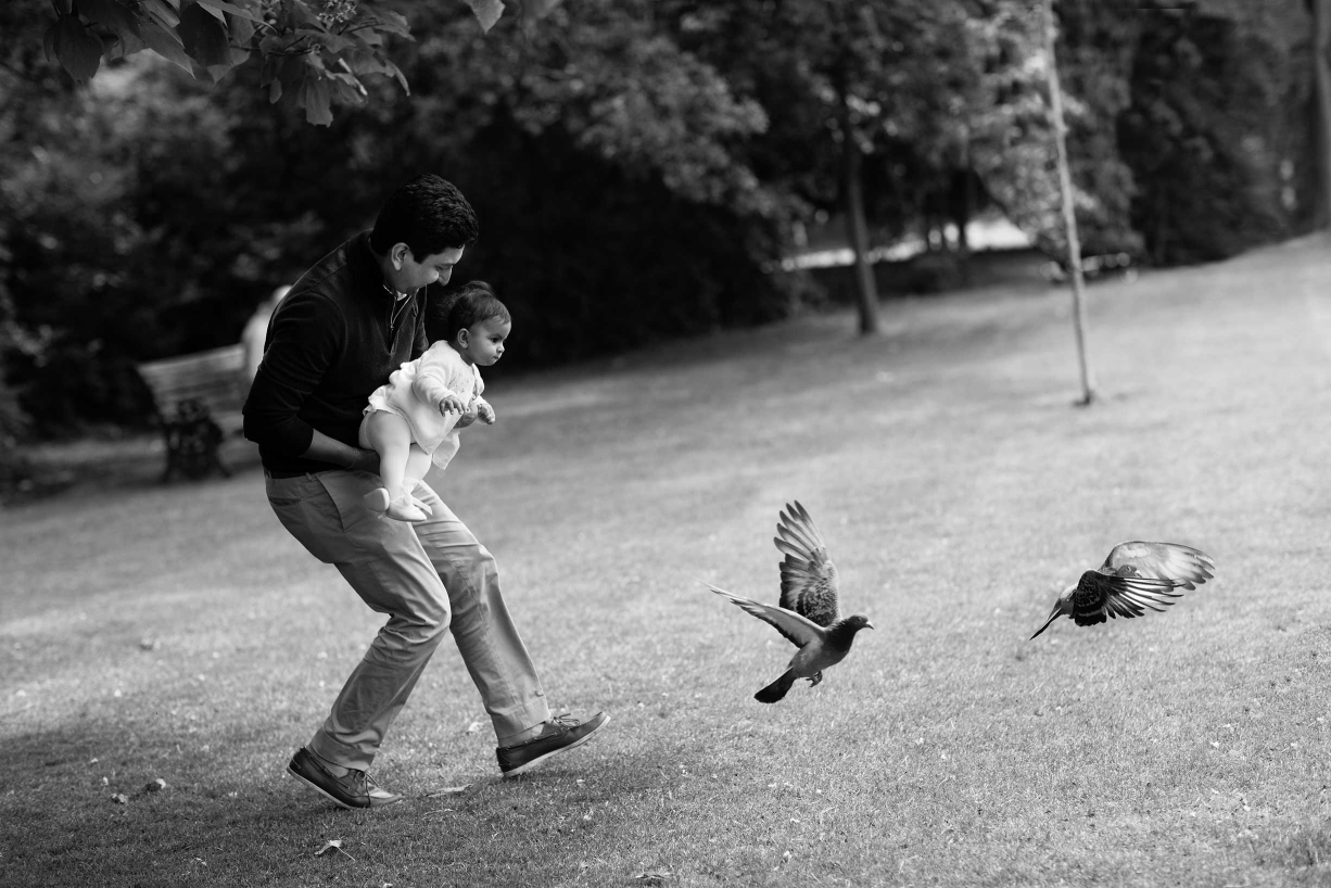 A black and white family portrait taken in Hampstead by professional photographer Helen Bartlett.