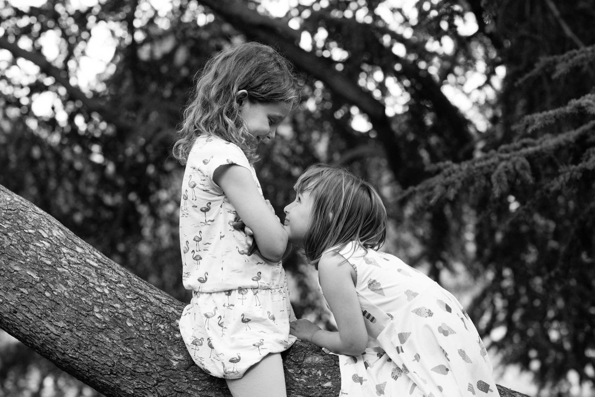 Siblings play during their family portraits in Hampstead, north London.