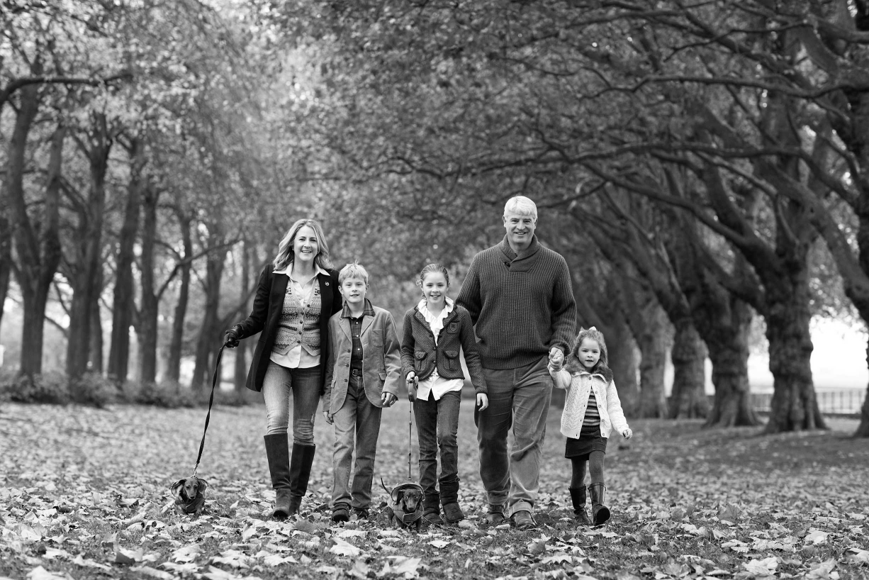 A black and white family portrait in Richmond, in Surrey, outside London.