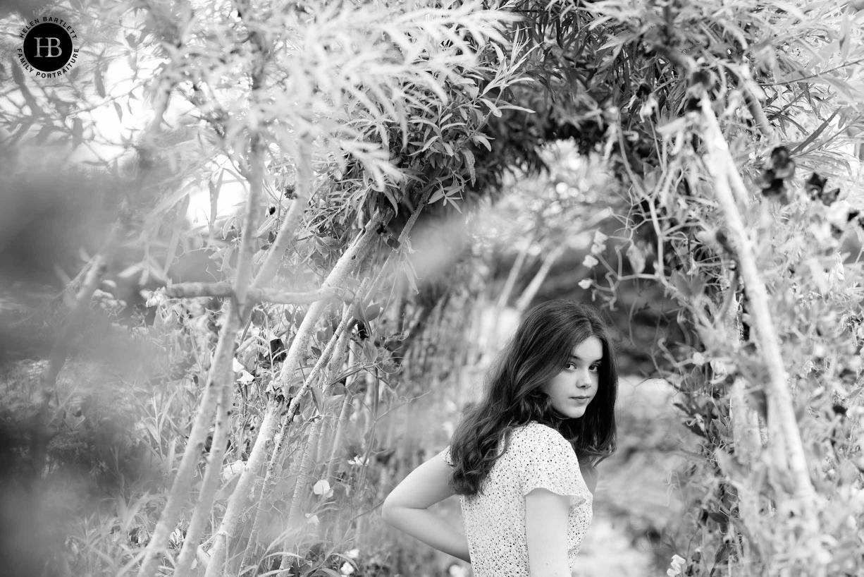 teenage girl in kitchen garden