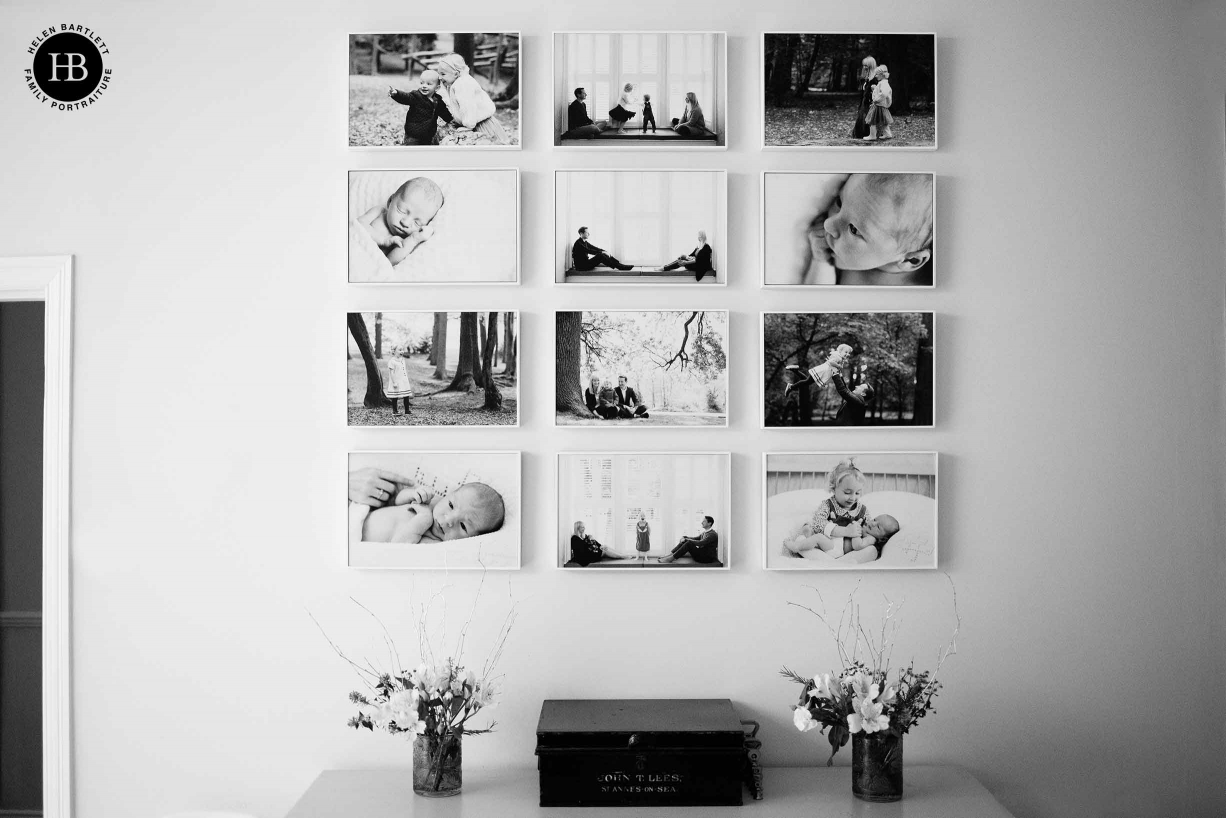 arrangement of frames on the wall from a number of london baby photography shoots