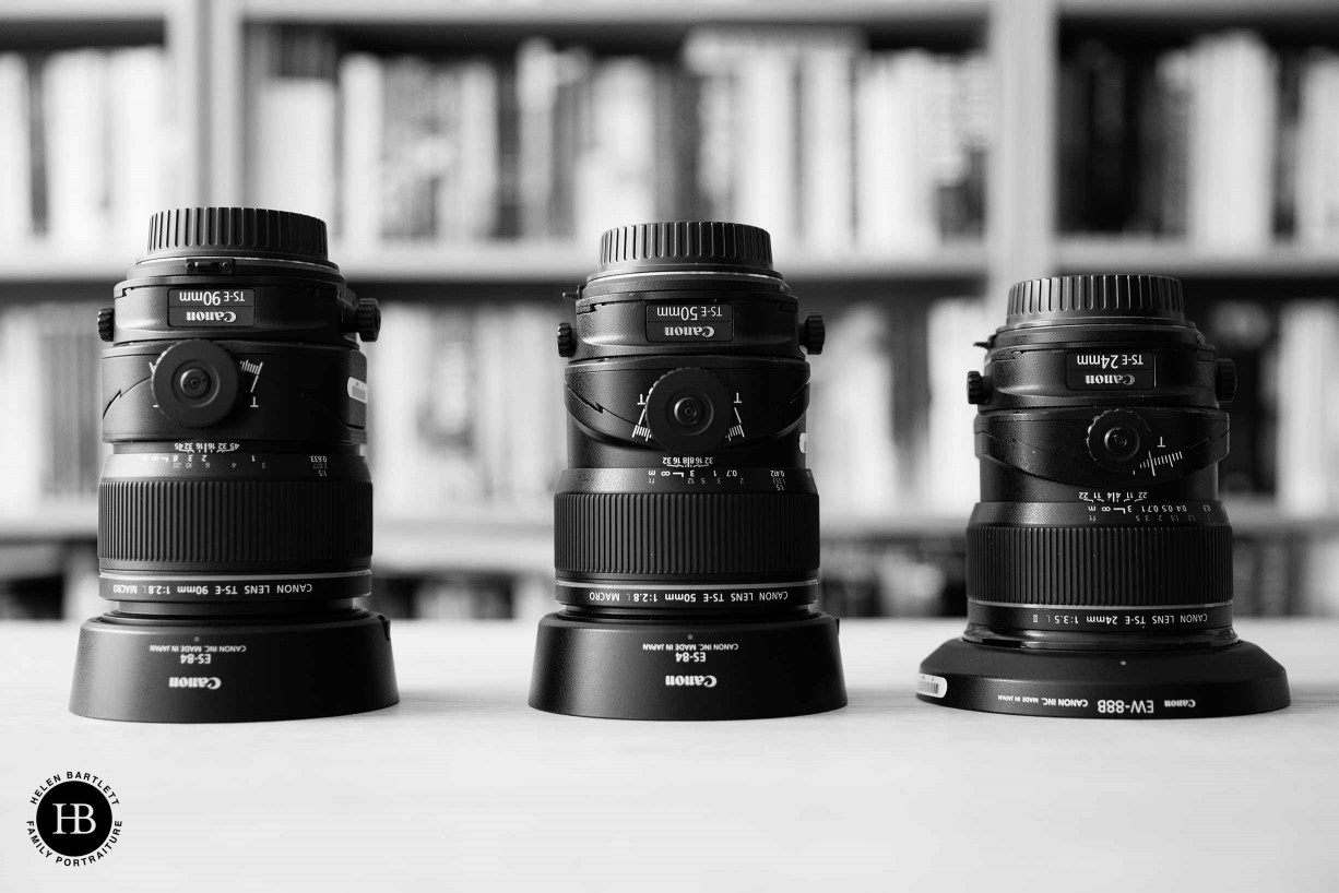 Three Canon tilt shift lenses