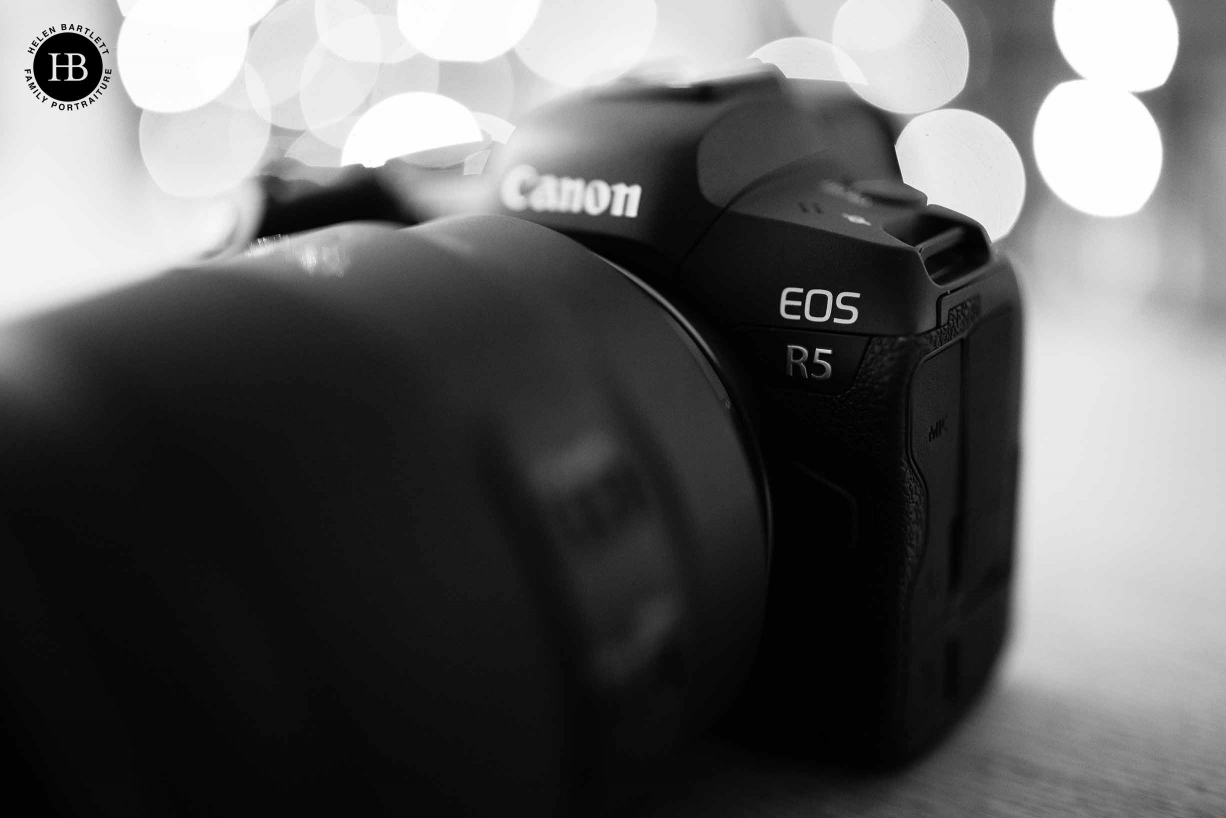 Detail shot of the product number on the Canon EOS R5