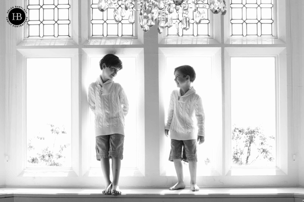 boys wear matching outfits for fun family photo