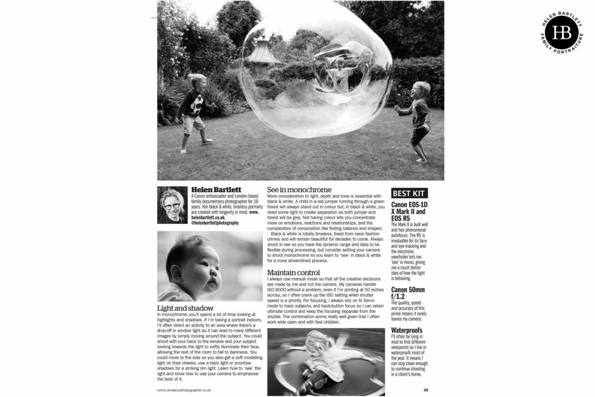 article on Helen Bartlett family photographer in Amateur Photographer Magazine