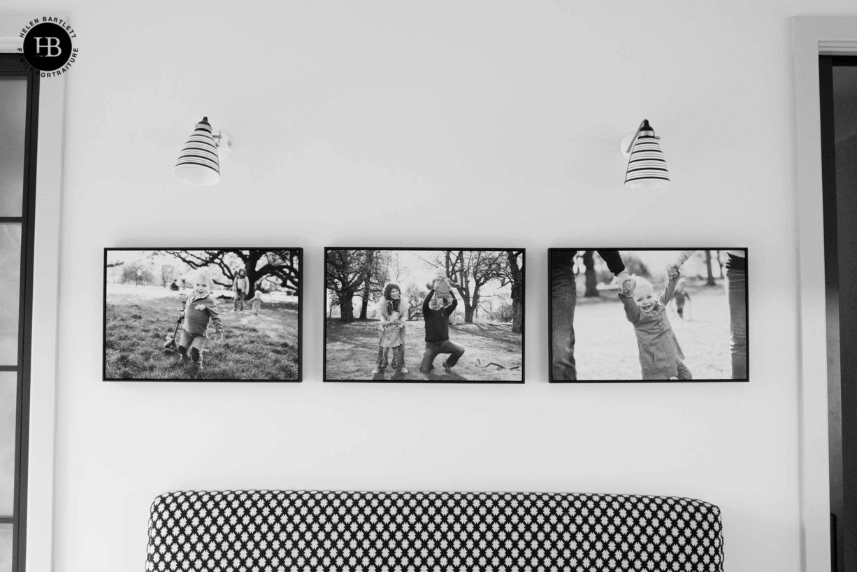family photos displayed in tray frames look fabulous in modern houses