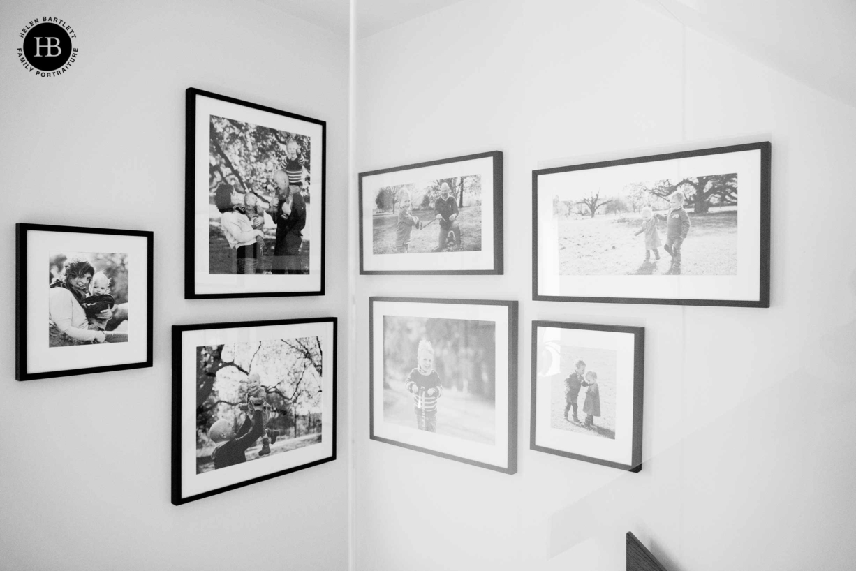mixed shapes and sizes in gallery hang to display family photos