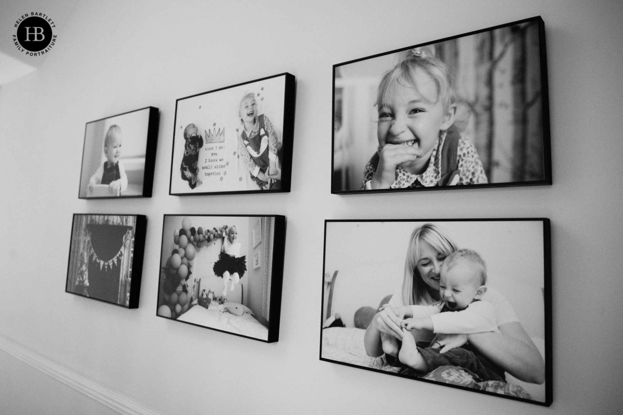 six tray frame portraits of children hung in grid format
