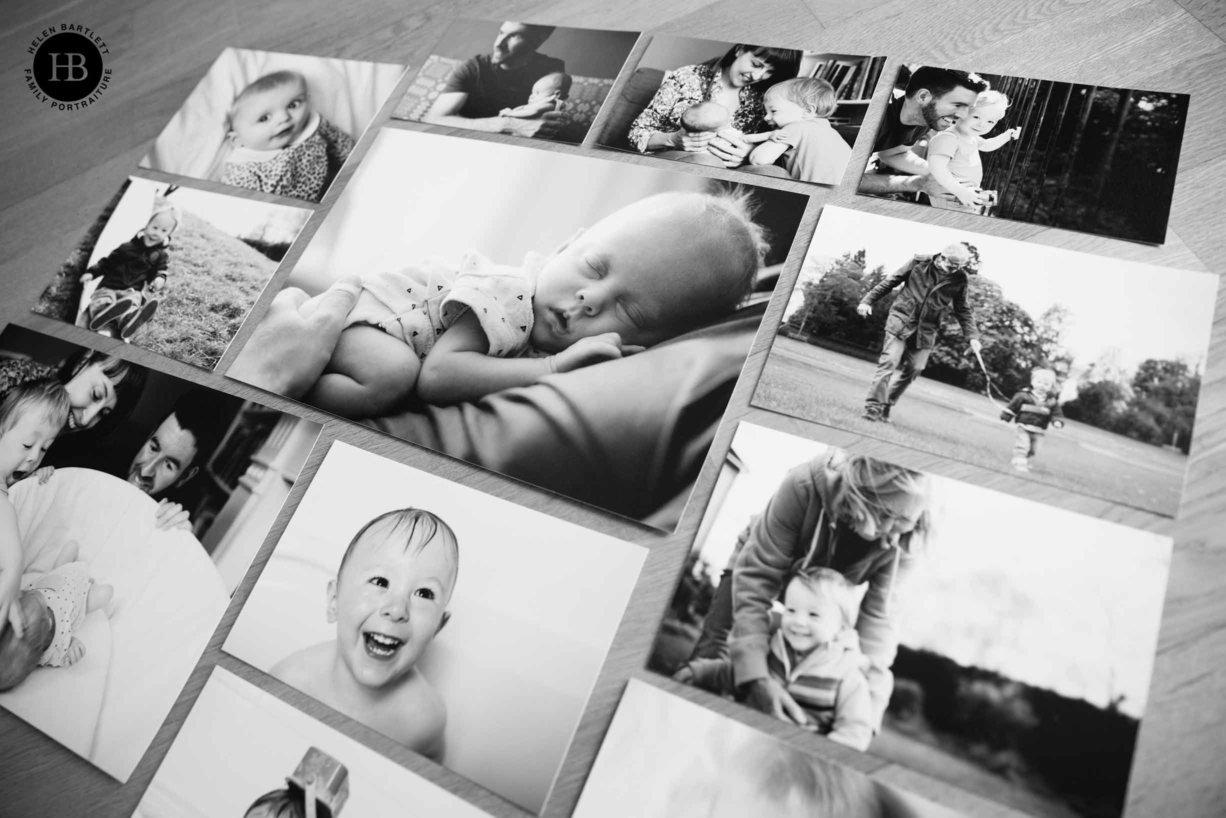 selection of unframed family photos