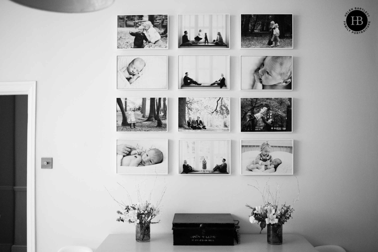 white tray frame grid display of twelve family photos